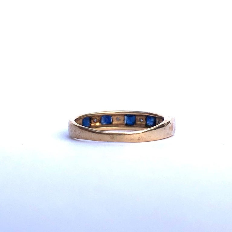 Modern Vintage Sapphire and Diamond 9 Carat Gold Half Eternity Band For Sale