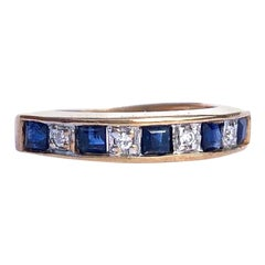 Vintage Sapphire and Diamond 9 Carat Gold Half Eternity Band