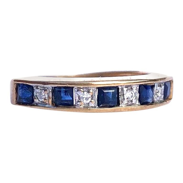 Vintage Sapphire and Diamond 9 Carat Gold Half Eternity Band For Sale
