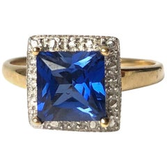 Vintage Sapphire and Diamond 9 Carat Gold Solitaire Ring