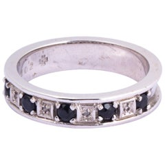 Vintage Sapphire and Diamond 9 Carat White Gold Eternity Band