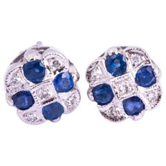 Vintage Sapphire and Diamond 9 Carat White Gold Stud Earrings