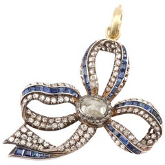 Sylva & Cie Antique Sapphire and Diamond Bow Pendant with Added Rough Diamond