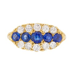 Vintage Sapphire and Diamond Carved Shank Cluster Ring, circa 1950s