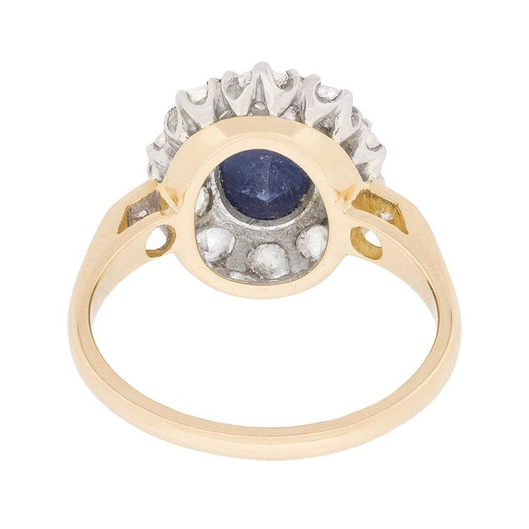 Women's or Men's Vintage Sapphire and Diamond Cluster Dress Ring, circa 1950s For Sale