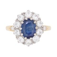 Vintage Sapphire and Diamond Cluster Dress Ring, circa 1950s