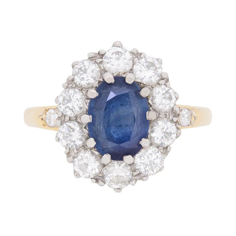 Vintage Sapphire and Diamond Cluster Dress Ring, circa 1950s For Sale