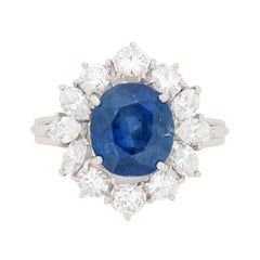 Vintage Sapphire and Diamond Cluster Ring, circa 1950s