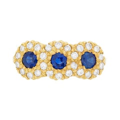 Vintage Sapphire and Diamond Cluster Ring, circa 1970s