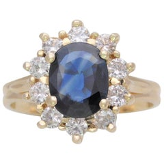 Vintage Sapphire and Diamond Cocktail Ring