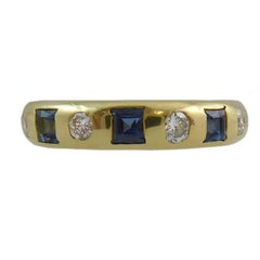 Vintage Sapphire and Diamond Gold Dress Ring