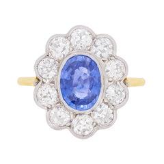 Vintage Sapphire and Diamond Halo Ring, circa 1960s