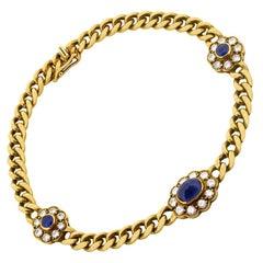 Vintage Sapphire and Diamond Linked Bracelet, circa 1950s