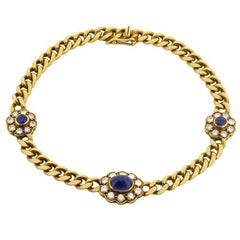 Vintage Sapphire and Diamond Linked Bracelet, circa 1950s