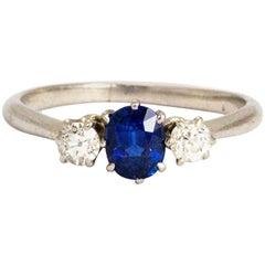 Vintage Sapphire and Diamond Platinum Ring