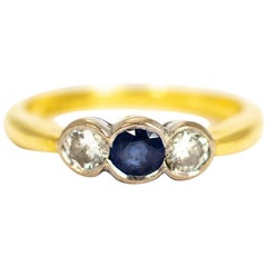 Vintage Sapphire and Diamond Three-Stone 18 Carat Gold Ring