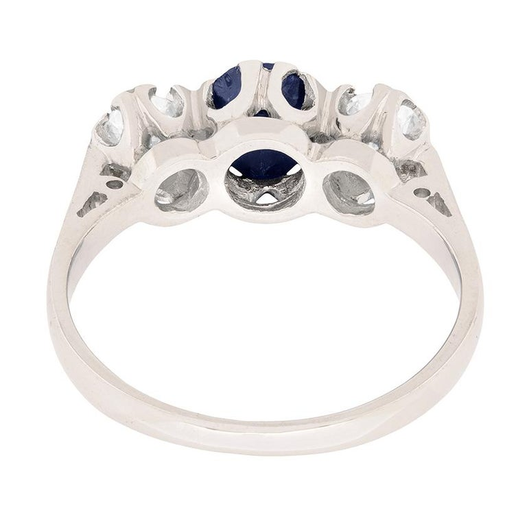 Women's or Men's Vintage Sapphire and Diamond Three-Stone Ring, circa 1970s For Sale