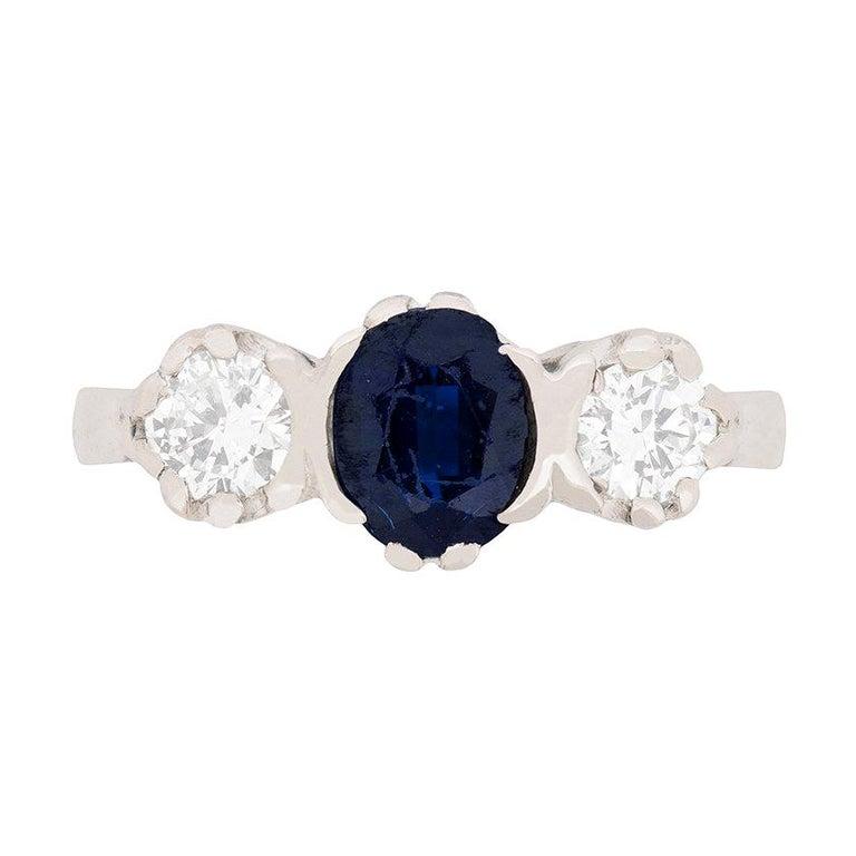 Vintage Sapphire and Diamond Three-Stone Ring, circa 1970s For Sale