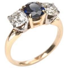 Vintage Sapphire and Diamond Three-Stone Ring
