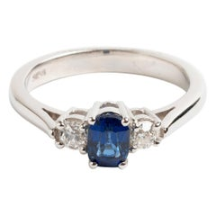 Vintage Sapphire and Diamond Trilogy Ring, Hallmarked Sheffield UK, Early 1980s