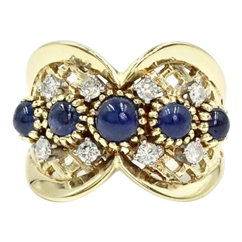 Vintage Sapphire and Diamond Wide Gold Ring