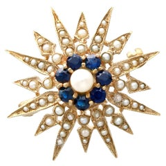 Vintage Sapphire and Pearl 9k Yellow Gold Star Brooch, Victorian Style