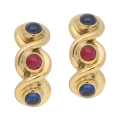 Vintage Sapphire and Ruby Clip Earrings