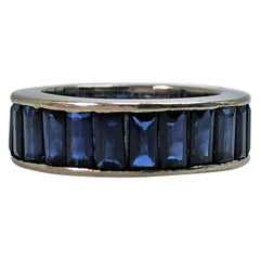 Vintage Sapphire Baguette Eternity Band in Platinum