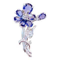 Vintage Sapphire Blue Crystal Flower Figural Brooch By Nolan Miller, 1980s