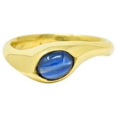 Vintage Sapphire Cabochon 18 Karat Gold Eyelet Band Ring, circa 1990s