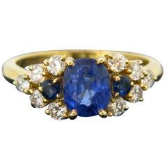Vintage Sapphire Ceylon No Heat Diamonds Yellow Gold Ring