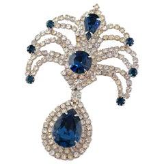 Vintage Sapphire Crystal Rhinestone Brooch, circa 1950s