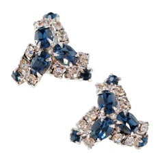 Vintage Sapphire Crystal Rhinestone Earrings, circa 1950s