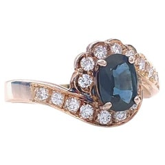 Vintage Sapphire Diamond 14 Karat Rose Gold Ring