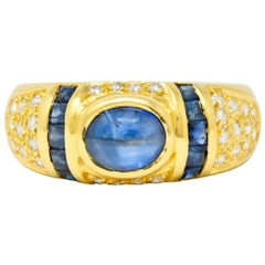 Vintage Sapphire Diamond 18 Karat Gold Cabochon Band Ring