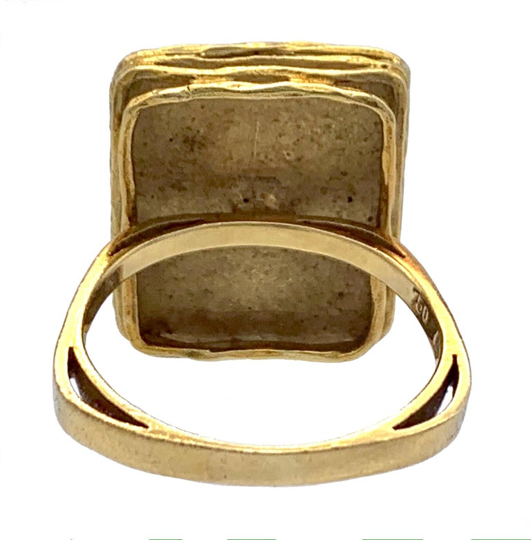 Vintage Sapphire Diamond 18 Karat Yellow Gold White Gold Fashion Cocktail Ring In Good Condition For Sale In Munich, Bavaria