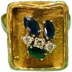 Vintage Sapphire Diamond 18 Karat Yellow Gold White Gold Fashion Cocktail Ring