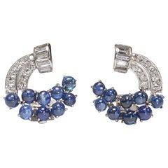 Vintage Sapphire Diamond and Platinum Earrings
