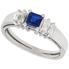 Vintage Sapphire, Diamond and White Gold Cocktail Ring