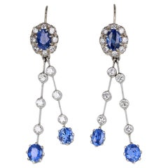 Vintage Sapphire Diamond Dangle Drop Earrings