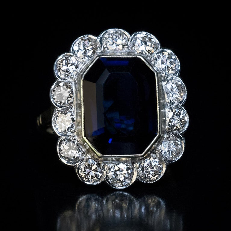 Emerald Cut Vintage Sapphire Diamond Engagement Ring For Sale