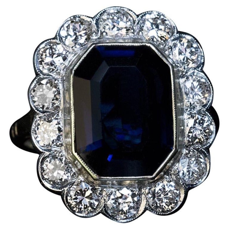 Vintage Sapphire Diamond Engagement Ring For Sale