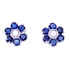 Vintage Sapphire Diamond Gold Cluster Stud Earrings