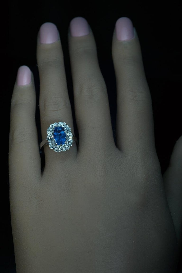Old Mine Cut Vintage Sapphire Diamond Gold Engagement Ring For Sale