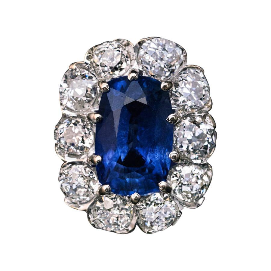 Vintage Sapphire Diamond Gold Engagement Ring