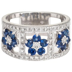 Vintage Sapphire Diamond Ring Flowers Wide Cigar Band Platinum Jewelry