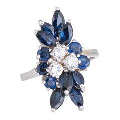 Vintage Sapphire Diamond Spray Ring 14 Karat Gold Cocktail Estate Fine Jewelry