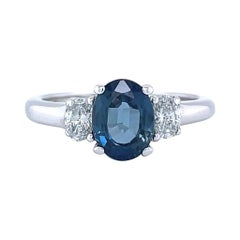 Vintage Sapphire Diamond Three Stone 14 Karat Gold Ring