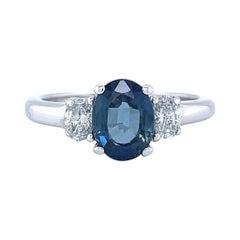 Vintage Sapphire Diamond Three Stone 14 Karat Gold Ring