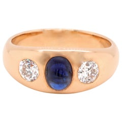 Vintage Sapphire Diamond Three-Stone 18 Karat Gypsy Ring